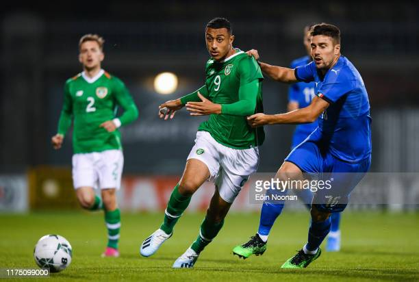 Dublin , Ireland - 10 October 2019; Adam Idah of Republic of Ireland in action against Riccardo Marchizza of Italy during the UEFA European U21...