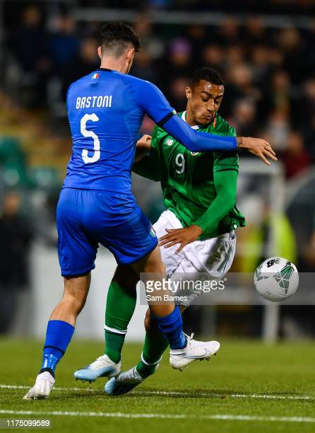 Dublin , Ireland - 10 October 2019; Adam Idah of Republic of Ireland in action against Alessandro Bastoni of Italy during the UEFA European U21...