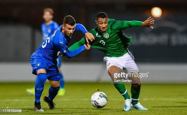 Dublin , Ireland - 10 October 2019; Adam Idah of Republic of Ireland in action against Enrico Del Prato of Italy during the UEFA European U21...