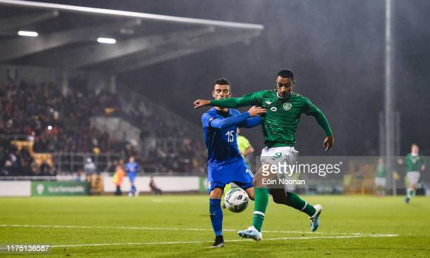 Dublin Ireland 10 October 2019 Adam Idah of Republic of Ireland in action against Enrico Del Prato of Italy during the UEFA European U21 Championship...