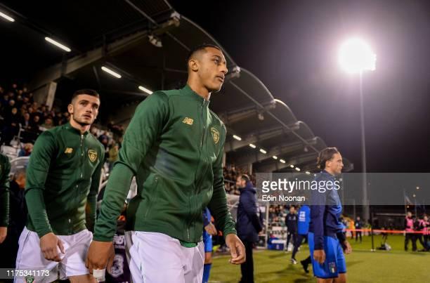 Dublin , Ireland - 10 October 2019; Adam Idah of Republic of Ireland prior to the UEFA European U21 Championship Qualifier Group 1 match between...