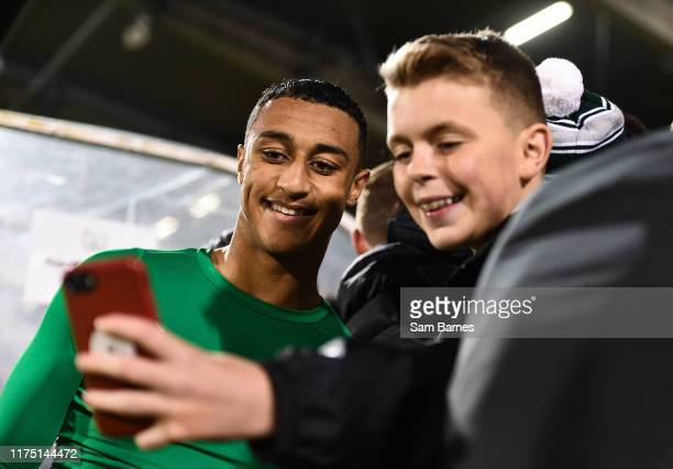 Dublin Ireland 10 October 2019 Adam Idah of Republic of Ireland takes a selfie with a supporter following the UEFA European U21 Championship...