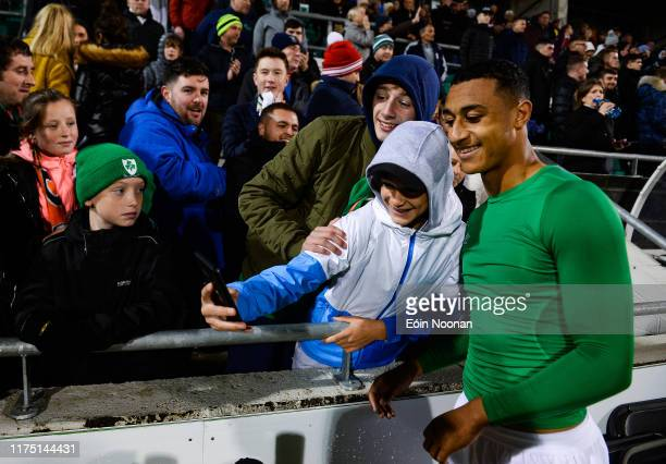 Dublin Ireland 10 October 2019 Adam Idah of Republic of Ireland with supporters following the UEFA European U21 Championship Qualifier Group 1 match...