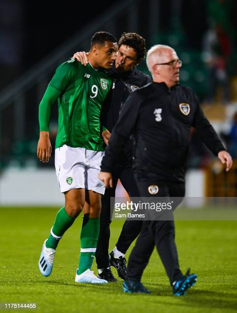 Dublin Ireland 10 October 2019 Adam Idah of Republic of Ireland with Republic of Ireland U21's assistant coach Keith Andrews during the UEFA European...