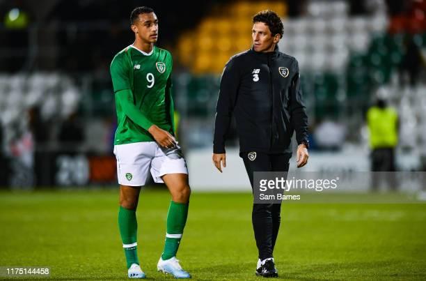 Dublin , Ireland - 10 October 2019; Adam Idah of Republic of Ireland with Republic of Ireland U21's assistant coach Keith Andrews during the UEFA...
