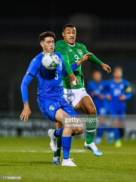 Dublin , Ireland - 10 October 2019; Alessandro Bastoni of Italy in action against Adam Idah of Republic of Ireland during the UEFA European U21...