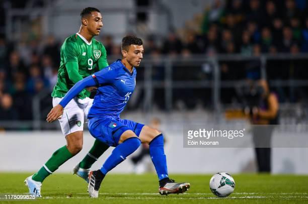 Dublin , Ireland - 10 October 2019; Enrico Del Prato of Italy in action against Adam Idah of Republic of Ireland during the UEFA European U21...
