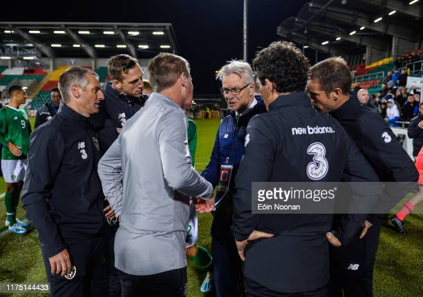 Dublin Ireland 10 October 2019 FAI High Performance Director Ruud Dokter speaking with Republic of Ireland head coach Stephen Kenny and his coaching...
