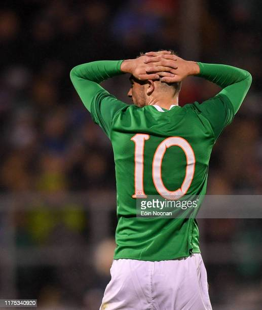Dublin Ireland 10 October 2019 Troy Parrott of Republic of Ireland reacts after missing a goal chance during the UEFA European U21 Championship...