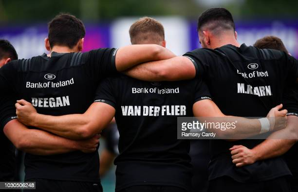 Dublin Ireland 10 September 2018 Max Deegan left Josh van der Flier centre and Mick Kearney huddle during Leinster Rugby squad training at Energia...