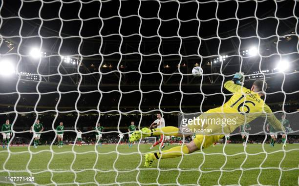 Dublin Ireland 10 September 2019 Mark Travers of Republic of Ireland fails to stop a penalty by Ivelin Popov of Bulgaria during the 3 International...