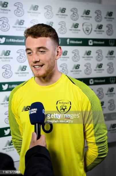 Dublin , Ireland - 10 September 2019; Mark Travers of Republic of Ireland is interviewed following the 3 International Friendly match between...