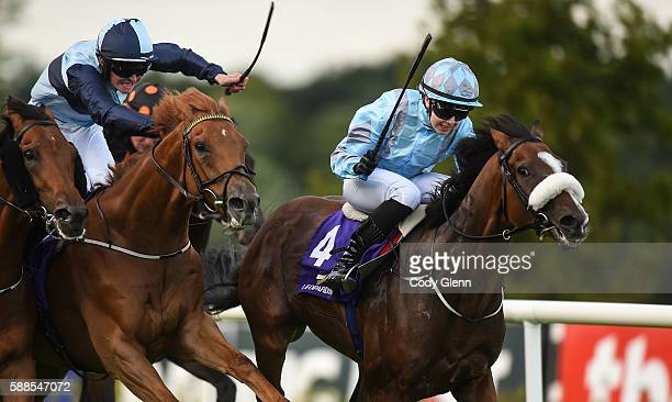 Dublin Ireland 11 August 2016 Udogo with Ana O'Brien up on their way to winning The Boomtown Rats Apprentice Handicap ahead of Windsor Beach with...