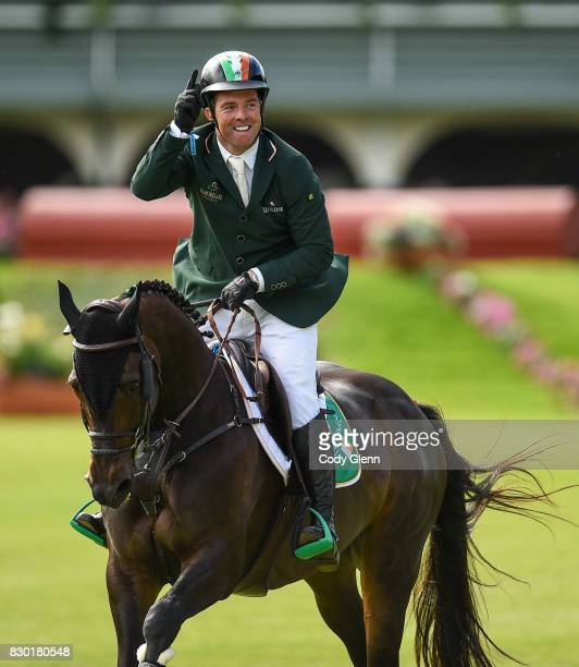 Dublin Ireland 11 August 2017 Cian O'Connor of Ireland celebrates a clear first round on Good Luck during the FEI Nations Cup during the Dublin...