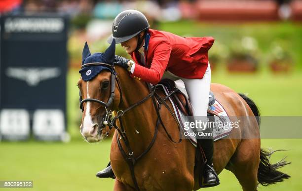 Dublin Ireland 11 August 2017 Lillie Keenan of USA celebrates a clear round on Super Sox during the FEI Nations Cup during the Dublin International...