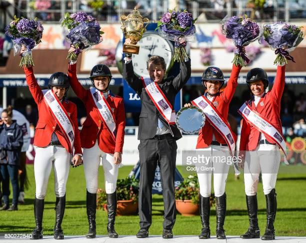Dublin Ireland 11 August 2017 Members of the winning USA team from left Laura Kraut Lillie Keenan Chef D'Equipe Robert Ridland Lauren Hough and...