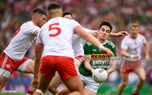 Dublin , Ireland - 11 August 2019; Brian Ó Beaglaoich of Kerry in action against Michael McKernan Colm Cavanagh of Tyrone and Brian Kennedy of Tyrone...