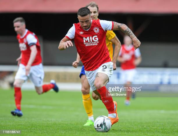 Dublin Ireland 11 July 2019 Michael Drennan of St Patrick's Athletic in action against Lars Gerson of IFK Norrköping during the UEFA Europa League...