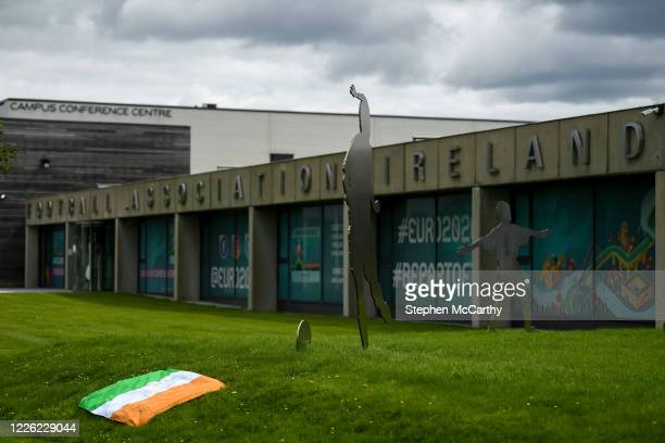 Dublin Ireland 11 July 2020 A tribute is placed outside the FAI Headquarters in Abbotstown Dublin as a mark of respect to the passing of former...