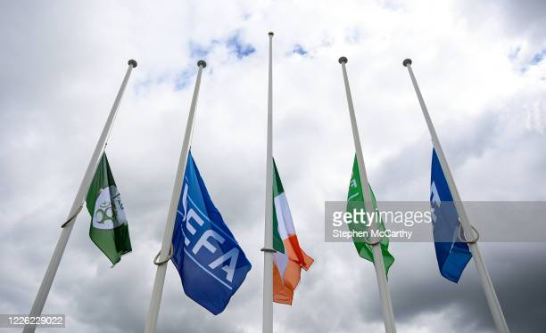 Dublin Ireland 11 July 2020 Flags are flown at halfmast outside the FAI Headquarters in Abbotstown Dublin as a mark of respect to the passing of...