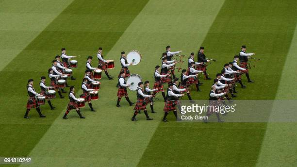 Dublin Ireland 11 June 2017 The Achill Island Pipe Band practices in formation prior to the FIFA World Cup Qualifier Group D match between Republic...
