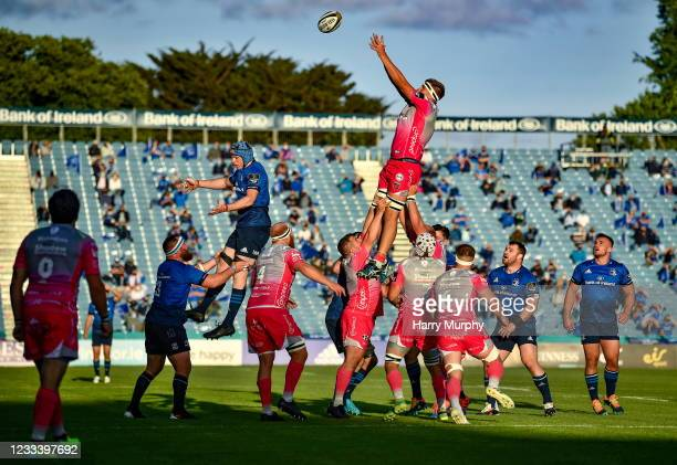 Dublin , Ireland - 11 June 2021; Ben Carter of Dragons wins a lineout for his side during the Guinness PRO14 match between Leinster v Dragons at RDS...