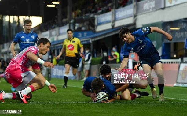 Dublin , Ireland - 11 June 2021; Scott Penny of Leinster scores a try during the Guinness PRO14 match between Leinster and Dragons at RDS Arena in...