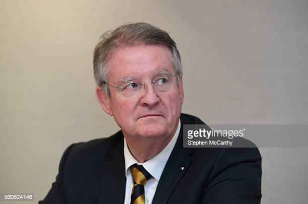 Dublin Ireland 11 May 2016 Outgoing Chairman of World Rugby Bernard Lapasset during a media conference to announce the new World Rugby Chairman and...