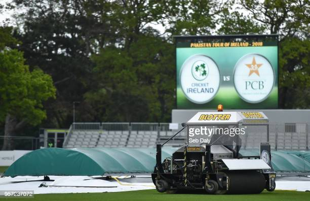 Dublin Ireland 11 May 2018 A general view of the wicket under covers prior to play on day one of the International Cricket Test match between Ireland...
