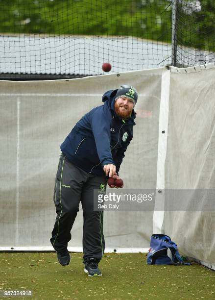 Dublin Ireland 11 May 2018 Paul Stirling of Ireland in the warmup nets on day one of the International Cricket Test match between Ireland and...