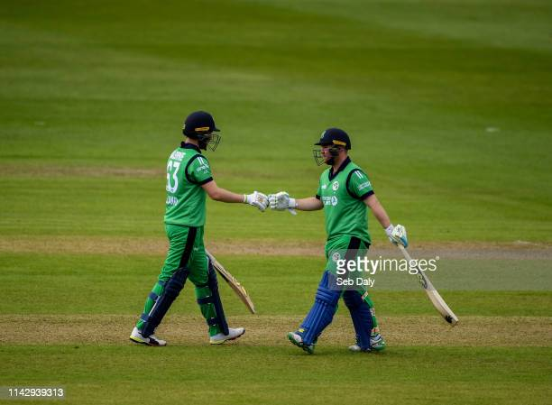 Dublin Ireland 11 May 2019 Andrew Balbirnie left and Paul Stirling of Ireland during the One Day International match between Ireland and West Indies...