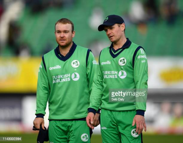 Dublin Ireland 11 May 2019 William Porterfield right and Paul Stirling of Ireland following the One Day International match between Ireland and West...