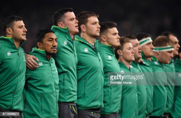 Dublin Ireland 11 November 2017 Bundee Aki of Ireland 2nd from left lines up alongside his teammates prior to the Guinness Series International match...