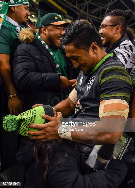 Dublin Ireland 11 November 2017 Bundee Aki of Ireland celebrates with his daughter Adrianna age 6 after the Guinness Series International match...