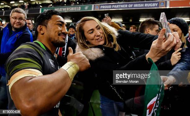 Dublin Ireland 11 November 2017 Bundee Aki of Ireland poses for a 'selfie' with a fan after the Guinness Series International match between Ireland...