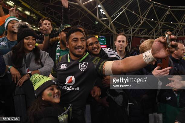 Dublin Ireland 11 November 2017 Bundee Aki of Ireland takes a selfie with his daughter Adrianna age 6 after the Guinness Series International match...