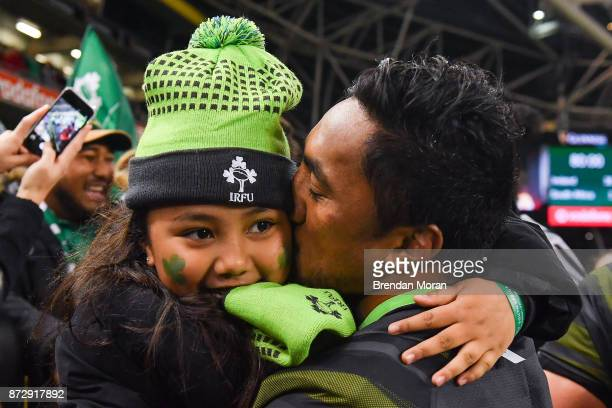 Dublin Ireland 11 November 2017 Bundee Aki of Ireland with his daughter Adrianna age 6 after the Guinness Series International match between Ireland...