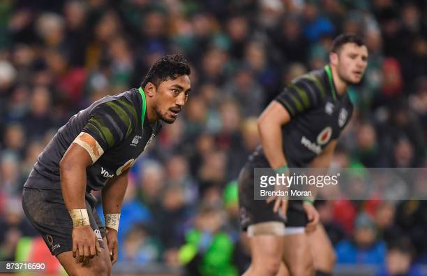 Dublin Ireland 11 November 2017 Bundee Aki of Ireland with Robbie Henshaw right during the Guinness Series International match between Ireland and...