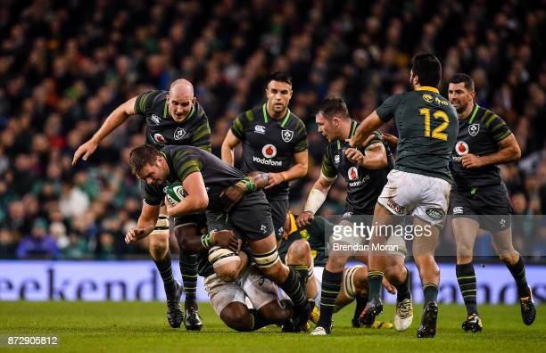 Dublin Ireland 11 November 2017 Iain Henderson of Ireland breaks away during the Guinness Series International match between Ireland and South Africa...