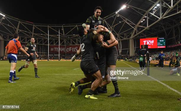 Dublin Ireland 11 November 2017 Joey Carbery Sean O'Brien Bundee Aki and Andrew Conway congratulate Jacob Stockdale of Ireland after scoring his...