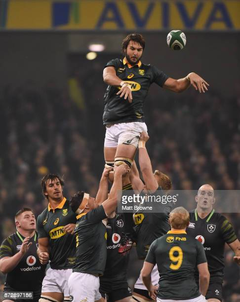 Dublin Ireland 11 November 2017 Lood de Jager of South Africa claims the line out during the Guinness Series International match between Ireland and...