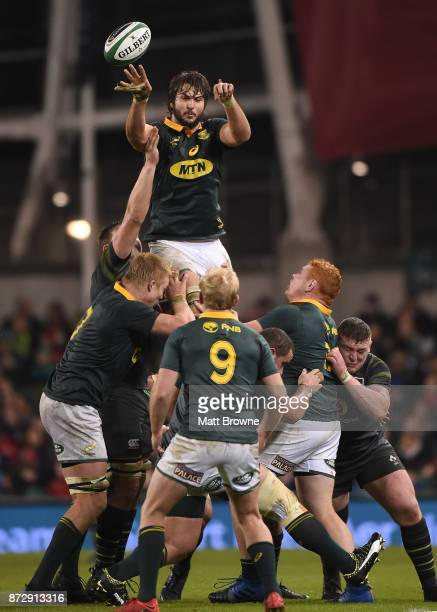 Dublin Ireland 11 November 2017 Lood de Jager of South Africa claims the lineout during the Guinness Series International match between Ireland and...