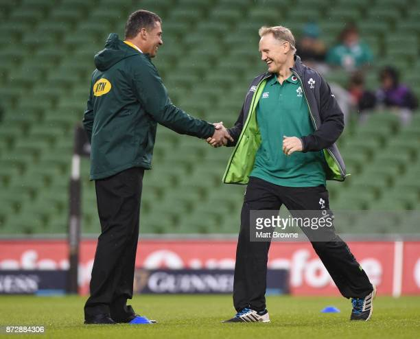 Dublin Ireland 11 November 2017 South Africa backs coach Franco Smith left and Ireland head coach Joe Schmidt prior to the Guinness Series...