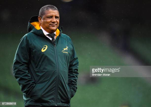 Dublin Ireland 11 November 2017 South Africa head coach Allister Coetzee prior to the Guinness Series International match between Ireland and South...