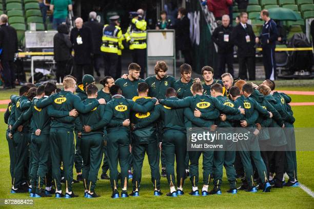 Dublin Ireland 11 November 2017 South African players huddle on the pitch prior to the Guinness Series International match between Ireland and South...