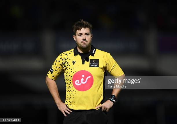 Dublin Ireland 11 October 2019 Referee Ben Whitehouse during the Guinness PRO14 Round 3 match between Leinster and Edinburgh at the RDS Arena in...