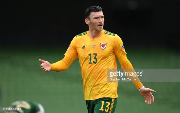 Dublin , Ireland - 11 October 2020; Kieffer Moore of Wales during the UEFA Nations League B match between Republic of Ireland and Wales at the Aviva...