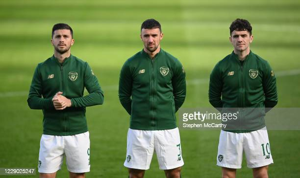 Dublin , Ireland - 11 October 2020; Republic of Ireland players, from left, Shane Long, Enda Stevens and Robbie Brady prior to the UEFA Nations...