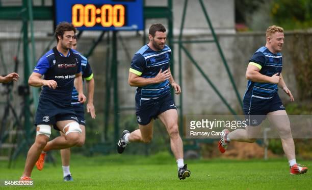 Dublin Ireland 11 September 2017 Leinster's Caelan Doris left Fergus McFadden centre and James Tracy during squad training at UCD in Dublin