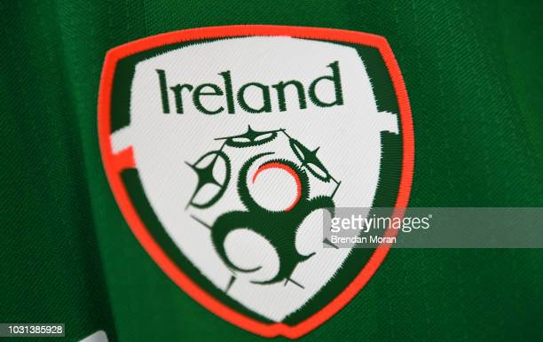 Dublin , Ireland - 11 September 2018; The crest of the Republic of Ireland is seen on a jersey in the dressingroom prior to the UEFA European U21...